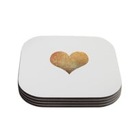 """Suzanne Carter """"Gold Heart"""" Glam Coasters (Set of 4)"""