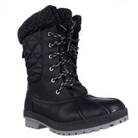 London Fog Swanley Shearling Lined Cold Weather Snow Boots, Black Quilting, 6 US
