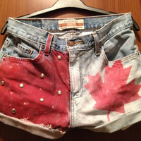 Oh Canada Hand painted and Studded High Waisted by MoleekOnes