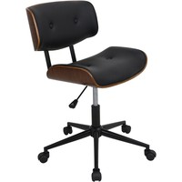 Lombardi Height Adjustable Swivel Office Chair, Walnut/Black