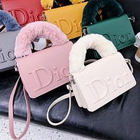 Dior fashion plush portable small square bag embossed messenger bag shoulder bag-3