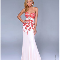 Nina Canacci 2014 Prom Dresses - Nude & Red Lace Embellished Mermaid Silhouette