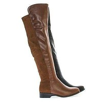 Kansas14 By Breckelle's, Over Knee Round Toe Dual Fabric Zip Up Riding Boots