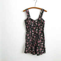 1980s vintage black purple maroon floral print romper - grunge mini dress - fit and flare - shorts playsuit - xs / small