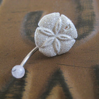 Glitter Sand Dollar Belly Button Jewelry Ring Glittery White Starfish Stud Star Fish Navel Piercing Bar Barbell Azeeta Designs Azeetadesigns