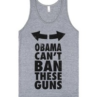 Obama Can't Ban These Guns (Neon)-Unisex Athletic Grey Tank