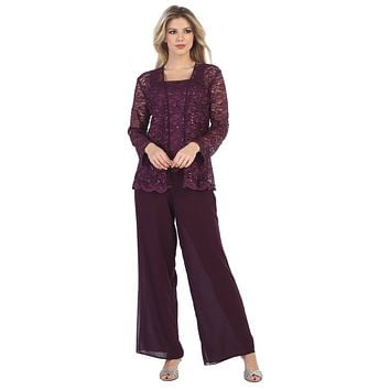 CLEARANCE - JJ Fashion 8850 Plum Pant Set Includes Jacket and Top (Size 2XL)