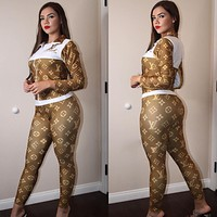 Louis Vuitton LV Women Long Sleeve Shirt Pants Two-Piece