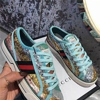G GG Low Women's Sequined Sneakers Shoes