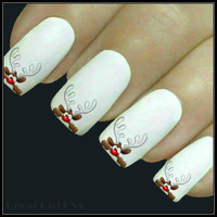 Christmas Nail Decal Reindeer Nail Art 20 Water Slide Decals Nail Stocking Stuffer Nail Tattoos Nail Transfers