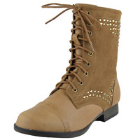 Womens Ankle Boots Rhinestone Studded Combat Lace Up Shoes Cognac SZ