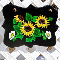Hand Painted Slate Wall Hanging With Sunflowers And Daisies