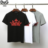 Dolce&Gabbana D&G Women Men Fashion Black White Gray T-Shirt Top Tee