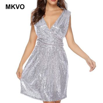 Women sequins V-sleeve sleeveless dress sexy backless party dresses vestidos Christmas bodycon dress plus size S-2XL