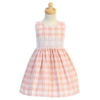 Girls Blush Pink Cotton Dobby Check Easter Dress w Lace Trim 3m-4T