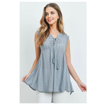 Adorable Me! Blue Grey Lace Up Sleeveless Crinkle Top