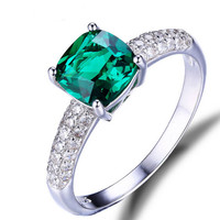 1.58ct Lab Created Green Emerald Square-Cut Fashion Ring For Women - With Genuine 925 Sterling Silver