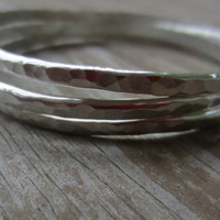 Hammered Silver Bangles, Set of 3 Silver Bracelets