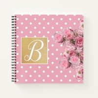 Pink Polkadot and Peonies Notebook | Zazzle.co.uk
