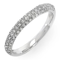 0.25 Carat (ctw) 14k White Gold Round Diamond Ladies Pave Anniversary Wedding Band Stackable Ring 1/4 CT (Size 7)