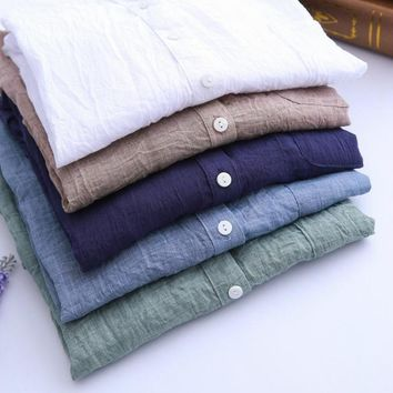 New 2017 Summer Sun Protection Clothing Japanese Small Fresh Cotton Loose Seven Female Linen Shirt Collar Sleeve Free Shipping