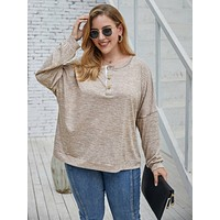 Plus Half Placket Drop Shoulder Oversized Sweatshirt