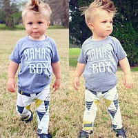 Newborn Infant Baby Mama's Boy T-shirt+ Long Pants Outfits Clothes Playsuit US b