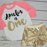 First Birthday Outfit 1st Birthday Shirt Outfit Set with Shorts Toddler Girl Clothes Gold Personalized Shirt Sequin Shorts Raglan Set 102