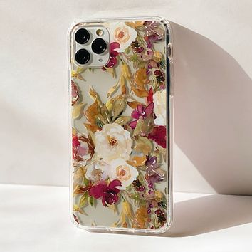 Purple Watercolor Flowers Clear Phone Case