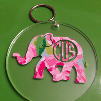 Monogrammed Lilly Elephant Keychain - Southern, Sorority, Owl, Dolphin, Turtle, Seahorse