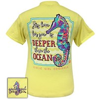 Sale Girlie Girl Originals Preppy Love Is Deeper Than The Ocean Seahorse T-Shirt