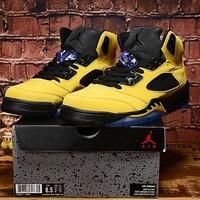 "Air Jordan 5 ""Yellow&Black"" Basketball Shoes"