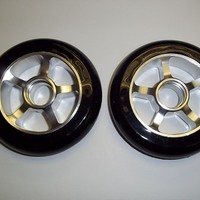 SCSK8 Metal Core Scooter Wheels 100mm BLACK and SILVER RAZOR FREE Bearings