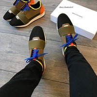 Balenciaga Fashion Race Runners Women Men Casual Shoes Orange Tail