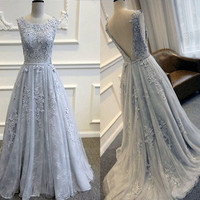 Gorgeous A Line Prom Dresses 2017 Hot Sale Sexy Grey Lace Appliques Floor Length Evening Gown For Wedding Plus Size