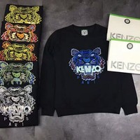 auguau Kenzo 2018 tiger head embroidered cotton terry sweater Black Blue