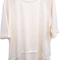 Plus Size Chiffon Trim French Terry Pullover