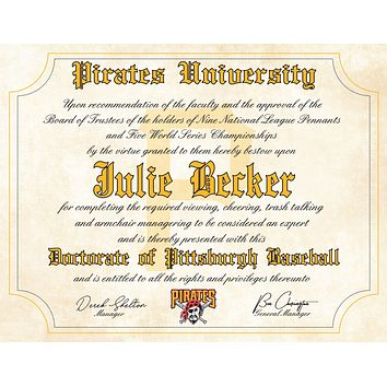 "Pittsburgh Pirates Ultimate Baseball Fan Personalized Diploma - 8.5"" x 11"""