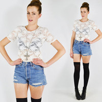 vtg 90s grunge revival white SHEER floral LACE cut out stretch BODYCON crop t-shirt blouse top M L