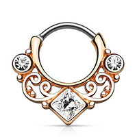 Lace Swirl Sparkle Rose Gold-Tone Stainless Steel Septum Clicker 16G