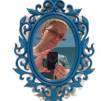 Teal Blue Mirror - Baroque Style