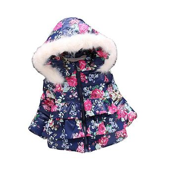 Girls down parkas winter girls flower thick warm hooded jacket children cotton padded snowsuit kids outerwear coat