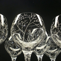 6 Wine Glasses . Hand Engraved Crystal . by daydreemdesigns