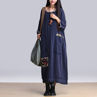 Women maxi dress cotton linen dress large size dress Casual dress/Loose Fitting dress/Long Sleeve dress autumn clothing plus size dress