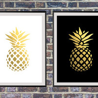 Set of 2 prints for the price of one, golden pineapple against a black and white background, Gold Pineapple Print, Gold Decorations *156*