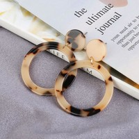 New Fashion Leopard Earrings Acetate Earrings Personality Atmosphere Exaggerated Edition Geometric Round Brown Acrylic Earrings