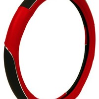 Custom Accessories 39772 Red with Chrome Accent Steering Wheel Cover
