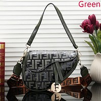 Fendi New fashion more letter leather shoulder bag women Green