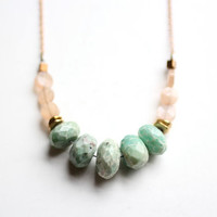 Faceted Mint Chrysoprase Peach Moonstone Necklace by shoprarebird