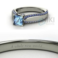 925 Sterling Silver Disney inspired Jasmine Princess Engagement Rings with CZ